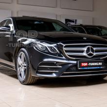 Установка спойлера и молдингов на Mercedes E W213 Sport Line