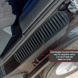 Накладки Bastion на внутренние части задних арок BMW X3 G01