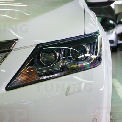 Передняя тюнинг-оптика  с ангельскими глазками на Toyota Camry V50 (7)