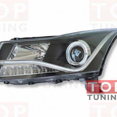 Передняя тюнинг-оптика с неоновой полосой на Chevrolet Cruze 2