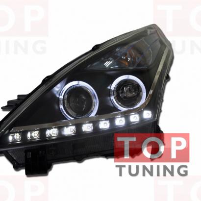 Передняя тюнинг-оптика  с ангельскими глазками и c линзой на Nissan Teana 2 (J32)