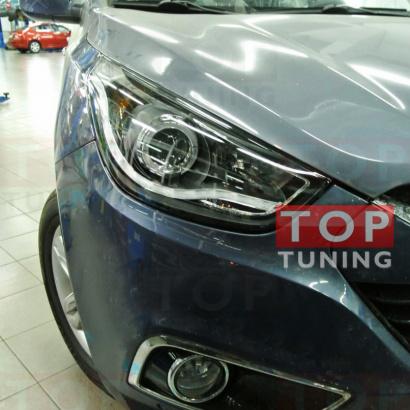 Передняя тюнинг-оптика  с ангельскими глазками и линзой на Hyundai ix35