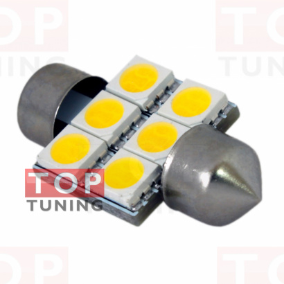 Лампа светодиодная T10*31MM-6SMD5050
