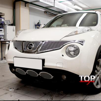 Нижняя решетка в бампер на Nissan Juke