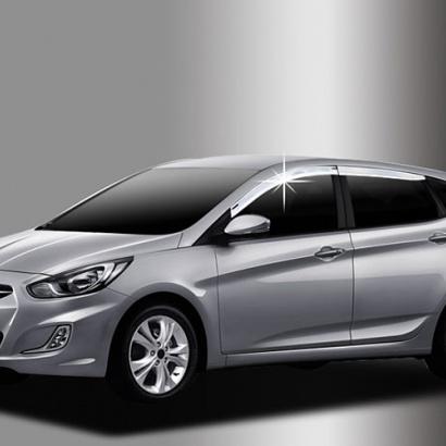 Хромированные дефлекторы на Hyundai Solaris