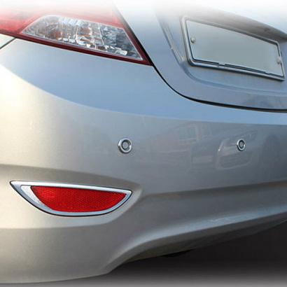 Накладки на задние ПТФ и парктроники на Hyundai Solaris