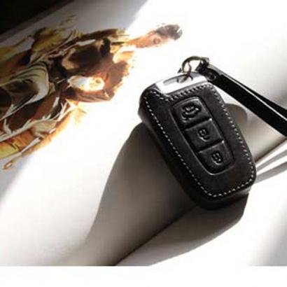 Кожаный чехол для смарт-ключа (3 кнопки) на Hyundai Solaris