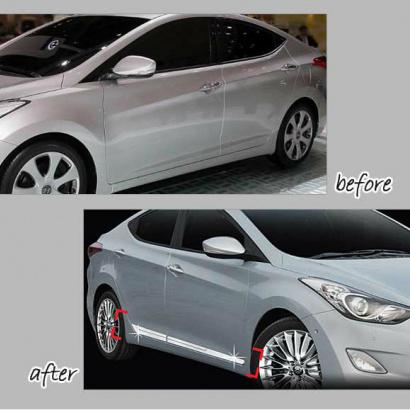 Молдинги порогов на Hyundai Elantra 5 (Avante MD)