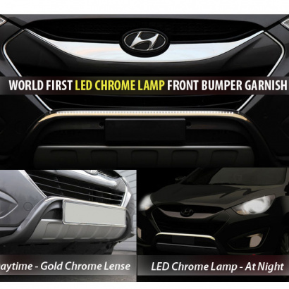 Накладка на передний бампер с подсветкой на Hyundai ix35