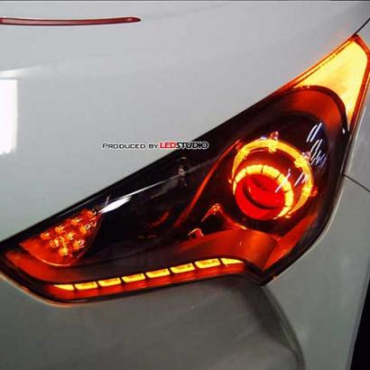 Тюнинг оптика - передние светодиодные фары на Hyundai Veloster