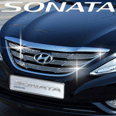 Декоративные накладки на решетку радиатора на Hyundai Sonata 6 (YF)