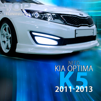 Накладка на передний бампер на Kia Optima 3 (K5)