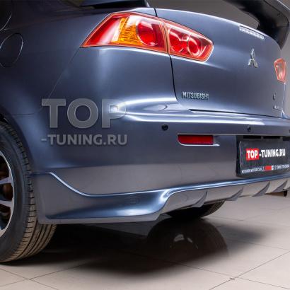 Юбка на задний бампер Zodiac - одинарный выхлоп - (ABS) на Mitsubishi Lancer 10 (X)