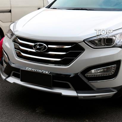 Накладка на передний бампер на Hyundai Santa Fe 3 (DM)