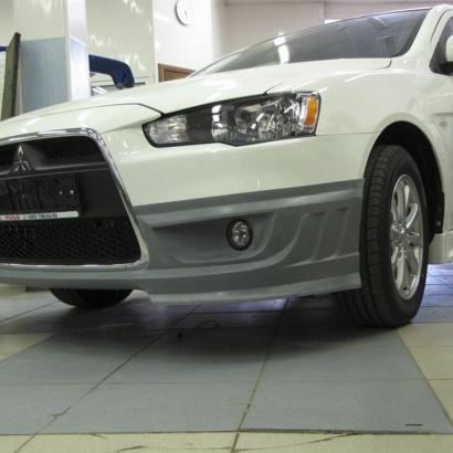 Юбка переднего бампера на Mitsubishi Lancer 10 (X)