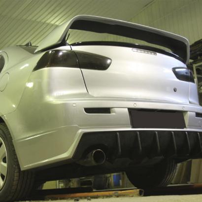 Накладка на задний бампер + диффузор на Mitsubishi Lancer 10 (X)