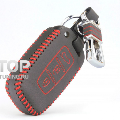 Кожаный чехол с карабином для смарт ключа 3 кнопки на Hyundai