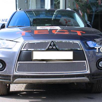 Решетка радиатора + решетка в бампер на Mitsubishi Outlander 2