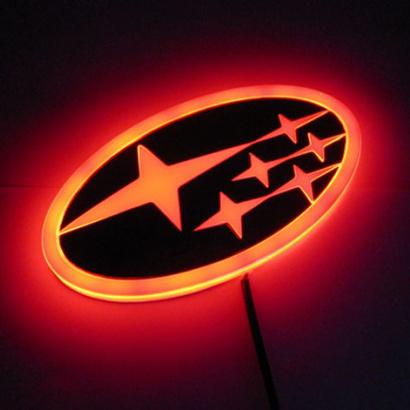 Светодиодная вставка под эмблему на Subaru Legacy