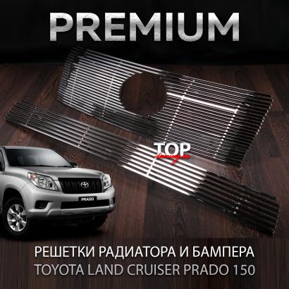 Сетка в решетку радиатора и бампер на Toyota Land Cruiser Prado 150