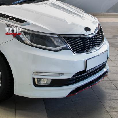 Накладка на передний бампер на Kia Rio 3