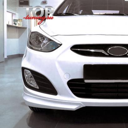 Накладки на передний бампер - Обвес на Hyundai Solaris