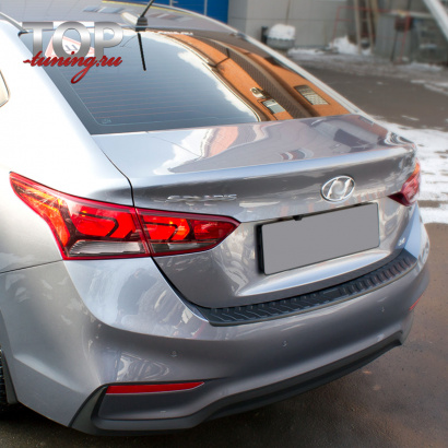 Накладка на задний бампер на Hyundai Solaris