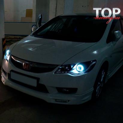 Передние фары Черные с ДХО на Honda Civic 4D (8)