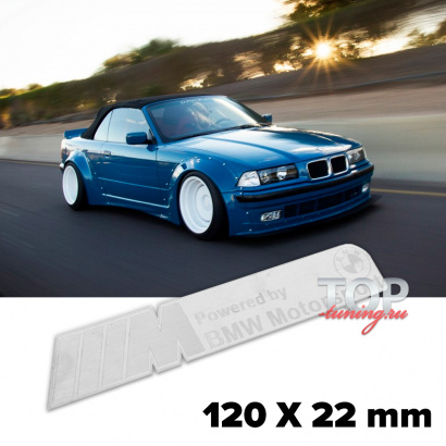 Шильдик эмблема BMW Motorsport SIlver 120 x 22 mm на BMW