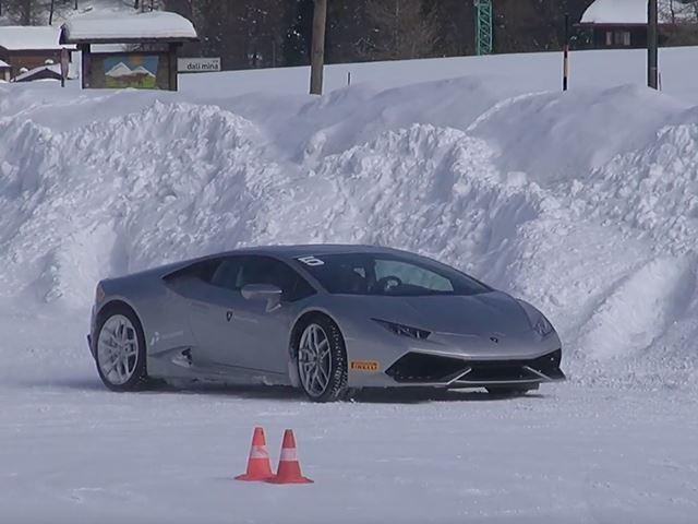 Лучший способ наслаждаться зимой на Lamborghini Huracan