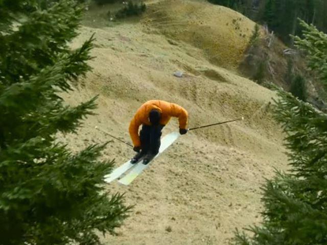 Бесснежная гонка на лыжах сделала отличную рекламу автомобилю
