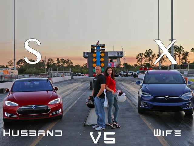 Муж против жены - дрэг рэйсинг на Tesla