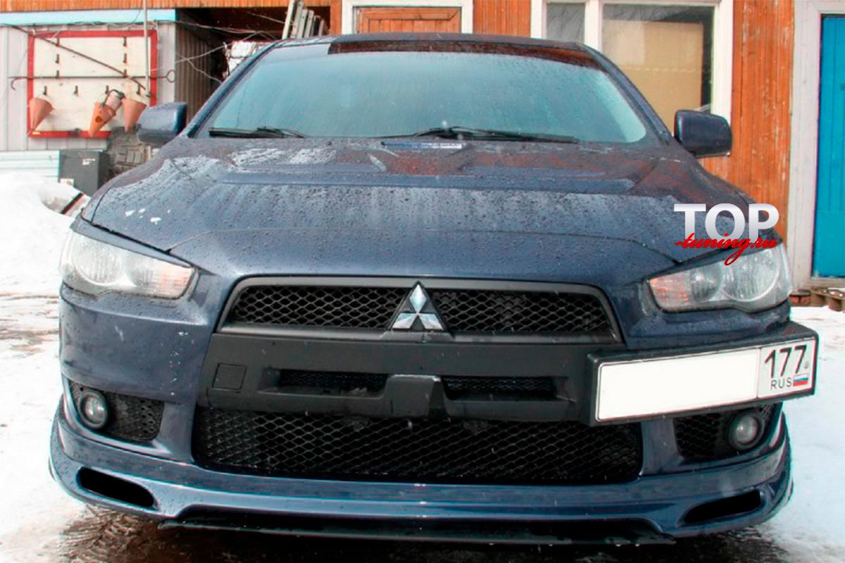 4586 Юбка на передний бампер Zodiak ABS (ДОРЕСТАЙЛИНГ) на Mitsubishi Lancer 10 (X)