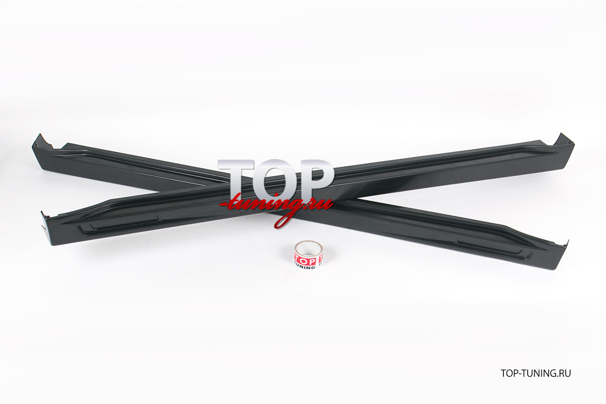 Пороги из АБС пластика - Тюнинг Митсубиши Оутлендер 2. Комплект с воздухозаборниками под сетку.