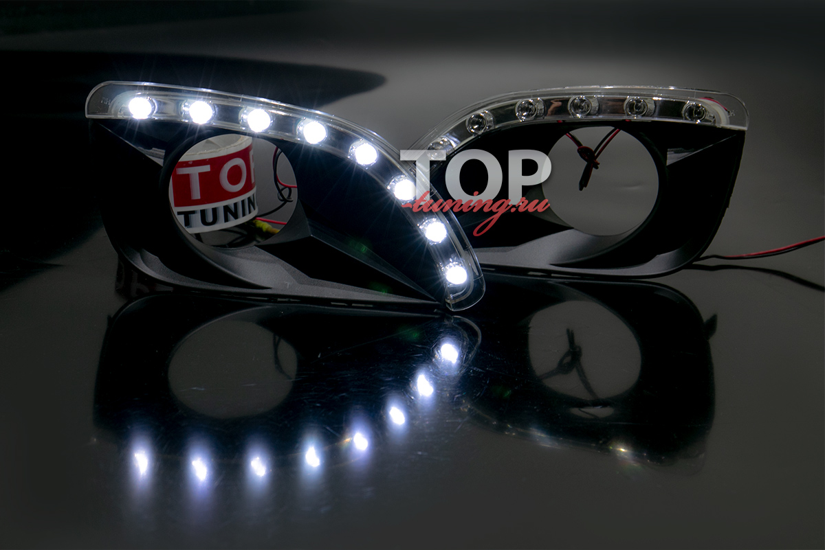 Тюнинг оптики Тойота Камри 6 (XV40 2009-2011) Светодиодные ходовые огни в передний бампер