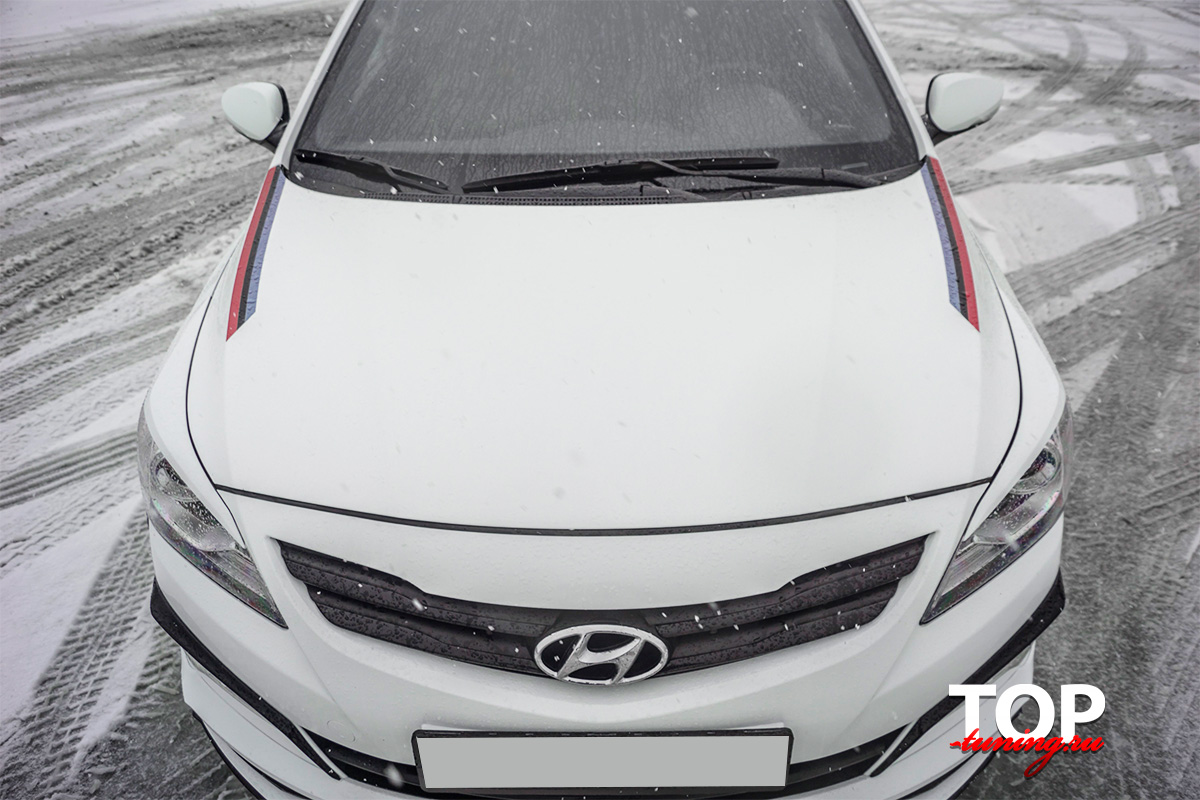 8073 Реснички на передние фары Sport на Hyundai Solaris