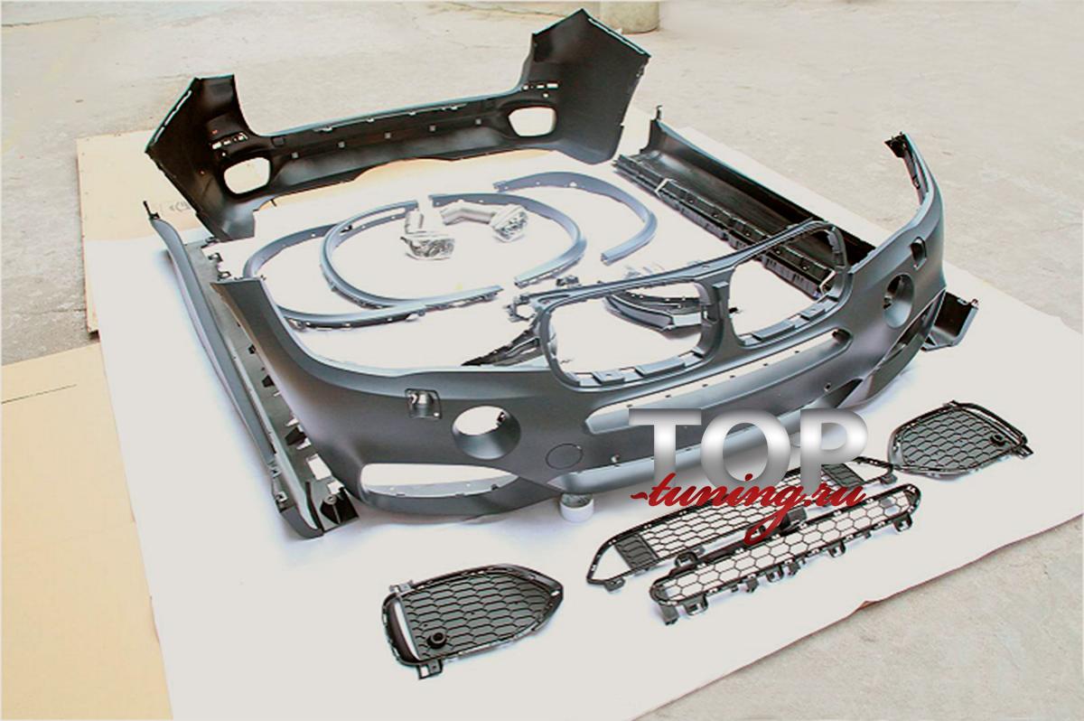 Передний бампер BMW X5 F15 M-Technik, решетки в передний бампер - 2 шт., боковые воздухозаборники, вставки для охлаждения передних суппортов, направляющие для ПТФ, крышки омывателей фар, расширители арок - 4 шт, задний бампер BMW X5 F15 M-Technik, тр