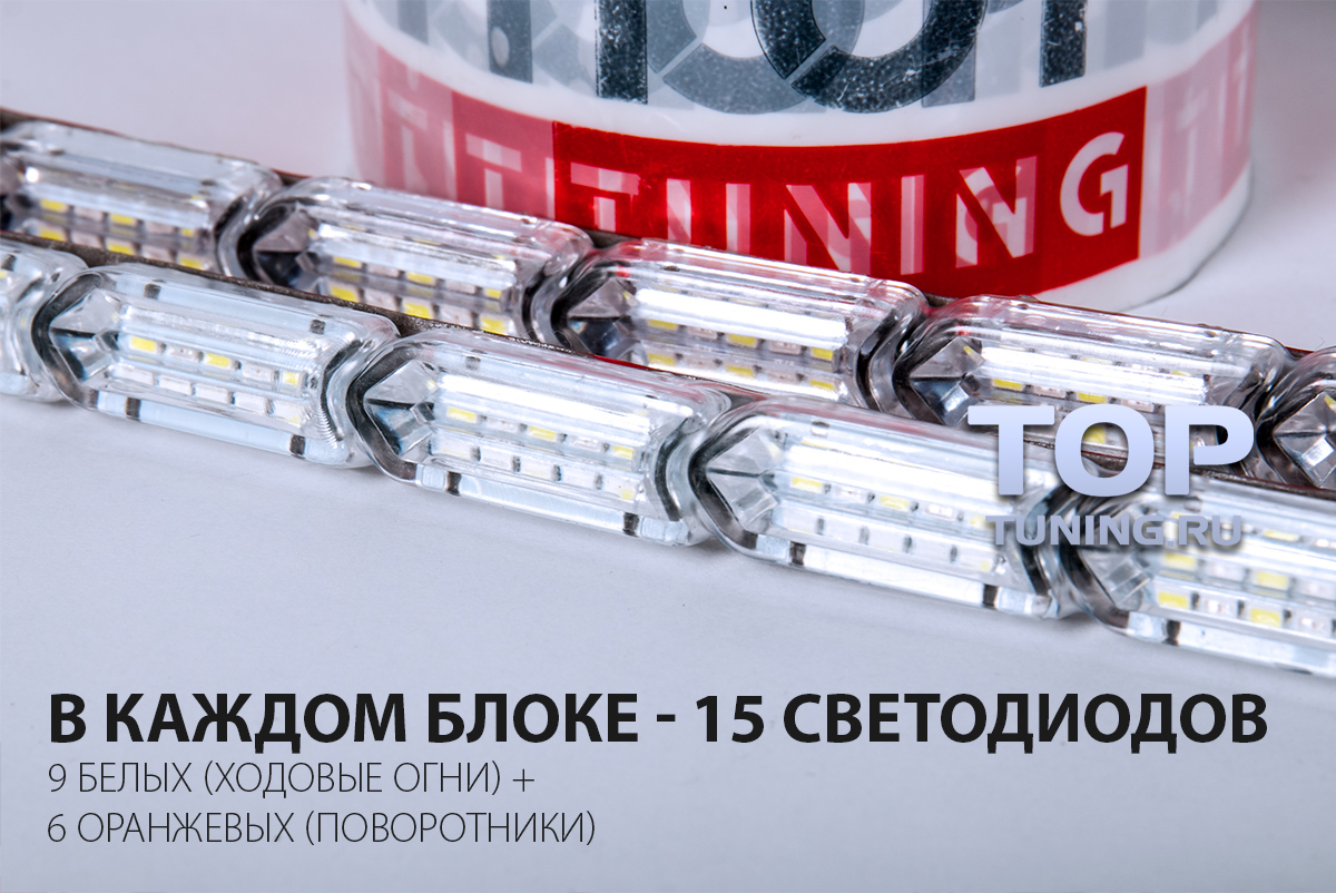 15 светодиодов в каждом блоке.