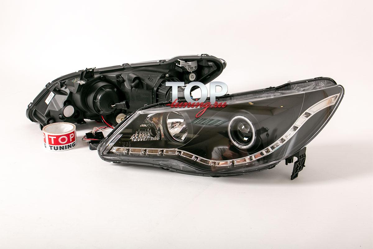 8801 Передние фары Eagle Eyes Черные с ДХО на Honda Civic 4D (8)