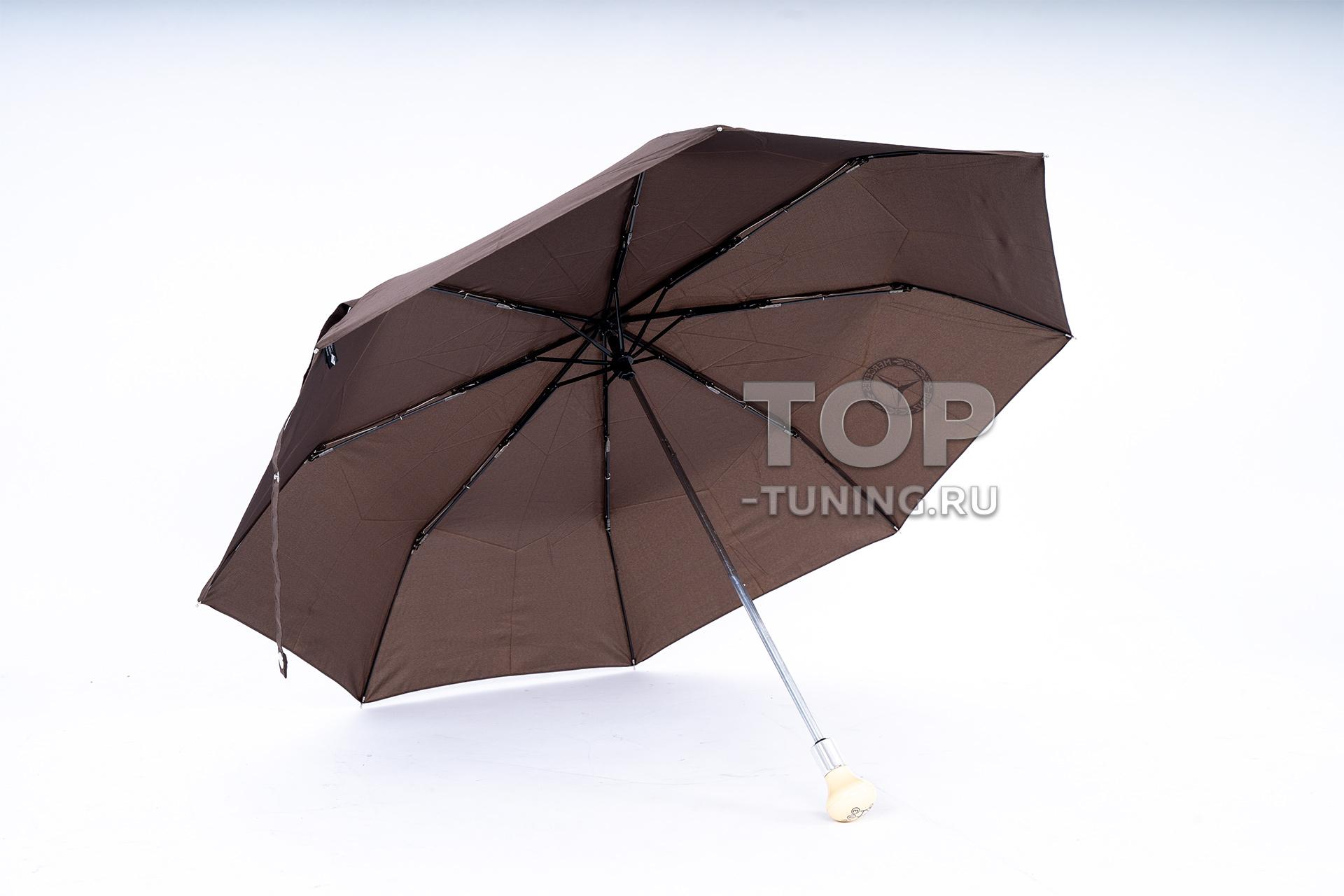 Коричневый зонт для Мерседес Бенц - оригинал, с бежевой рукояткой стилизованной под КПП