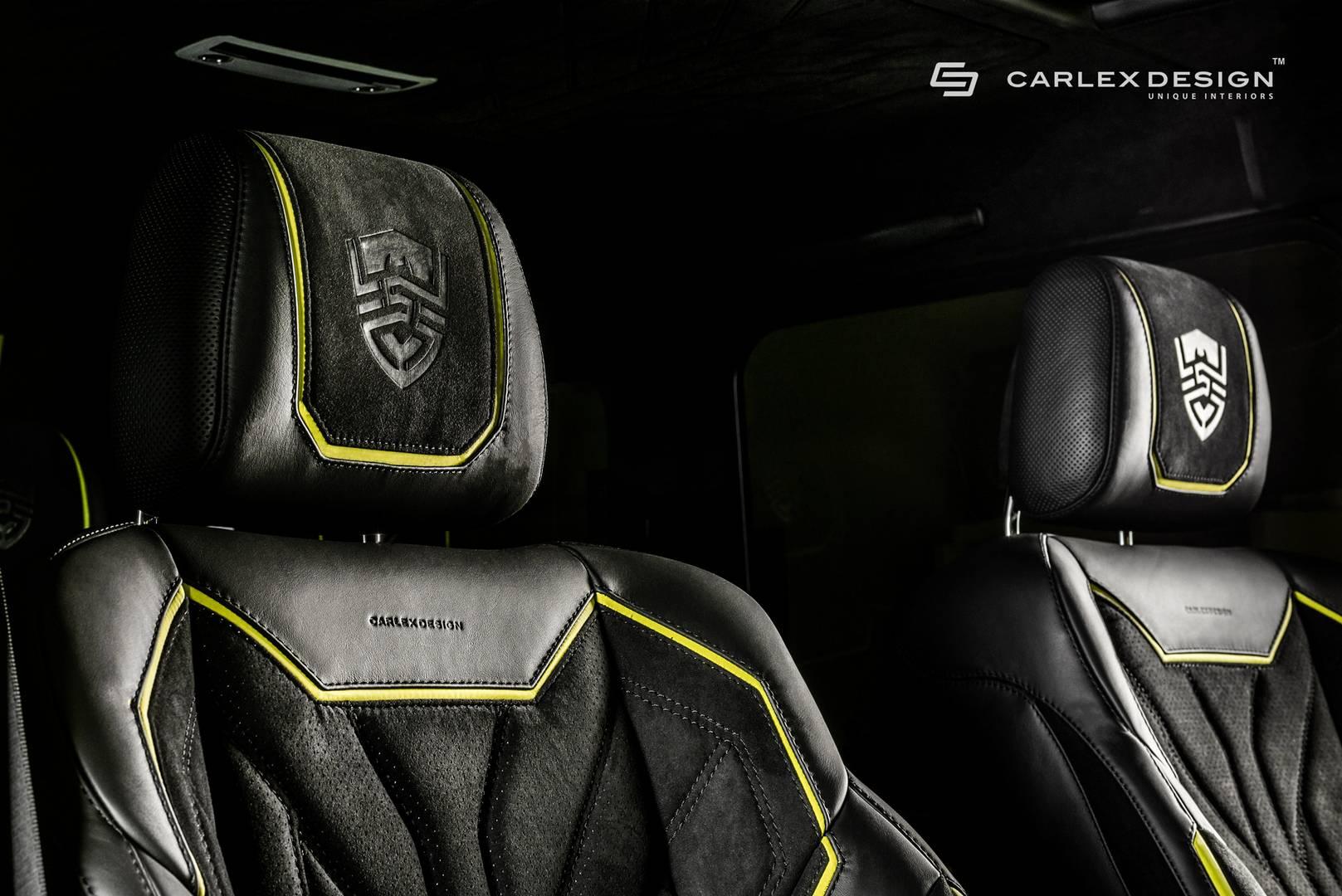 Чтобы соответствовать яркой внешности внедорожника, Carlex Design разработал соответствующий ромбовый узор, который доминирует в роскошном интерьере.