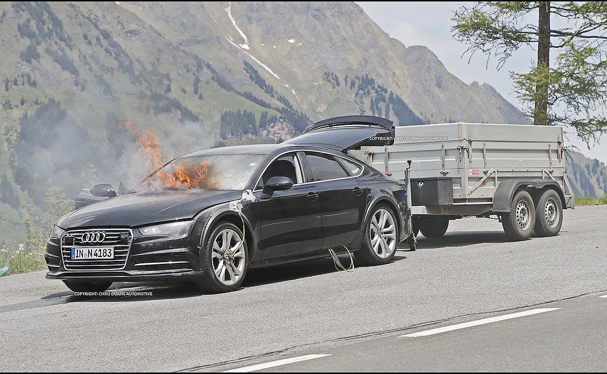 Audi A7 тестировался в Европе в четверг, на большой высоте на крутых подъемах австрийских Альп, когда произошел несчастный случай.