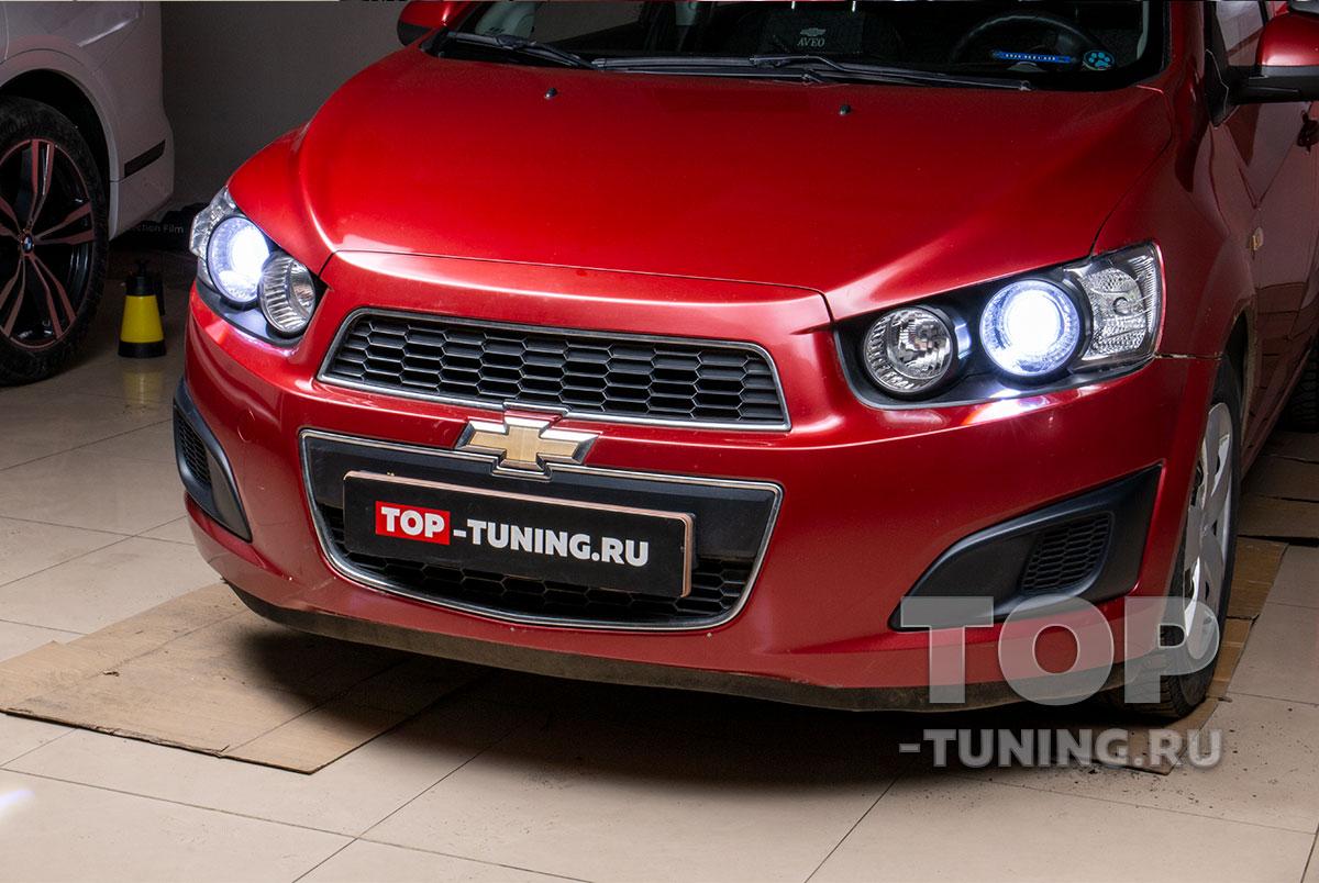 103150  LED линзы в штатную оптику для Chevrolet Aveo