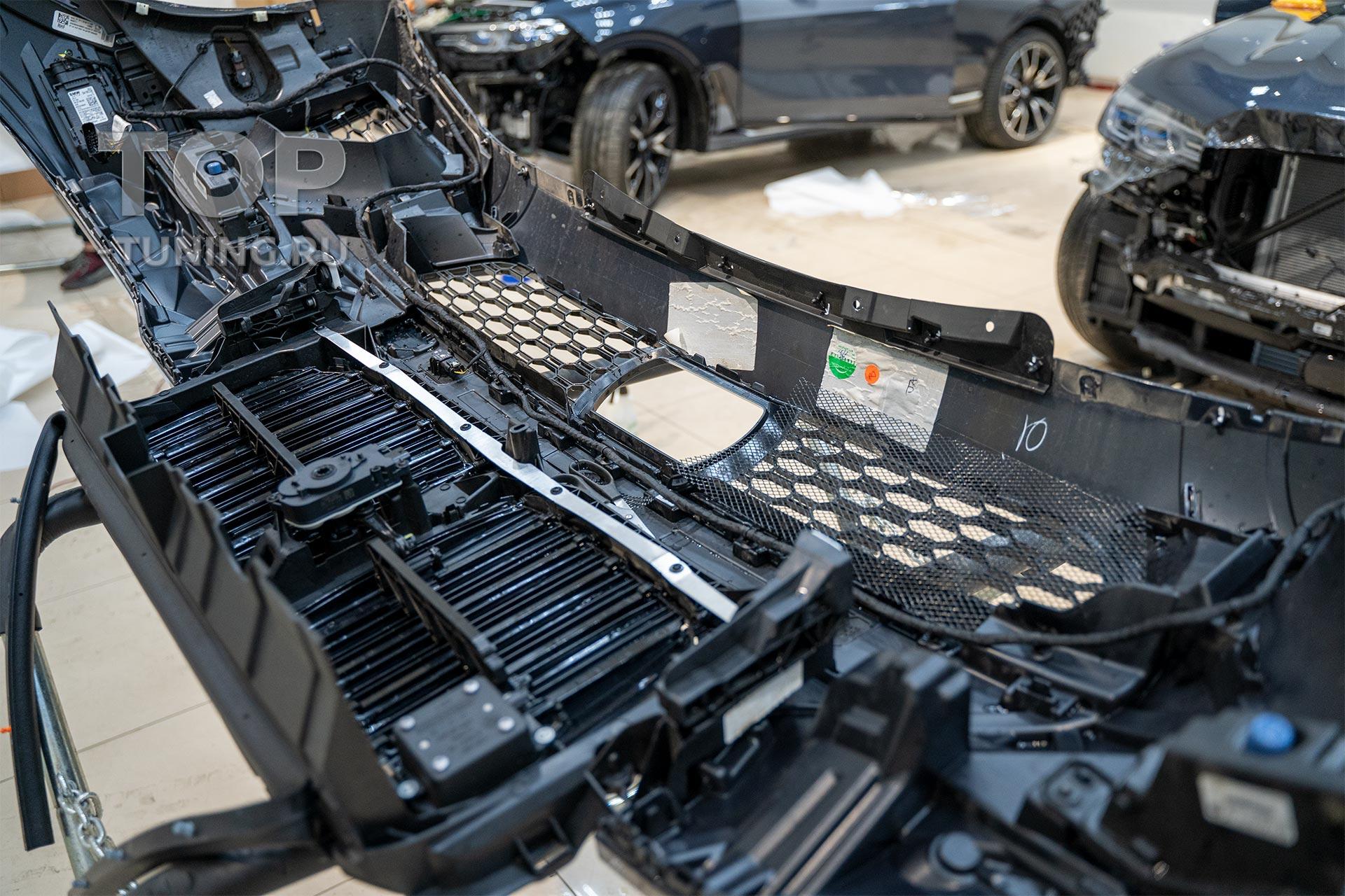 Установка сетки в передний бампер БМВ Х7