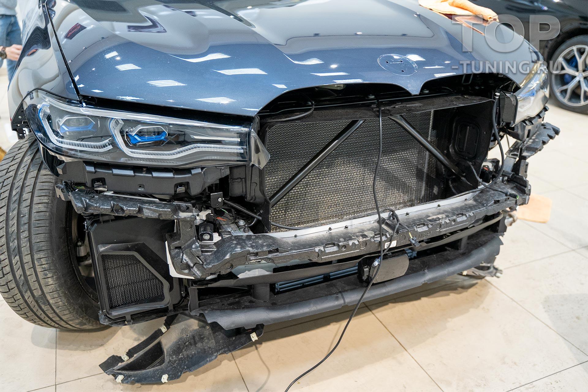 Сетка фильтр в бампер и решетку радиатора BMW X7 (установка в Top Tuning Москва)
