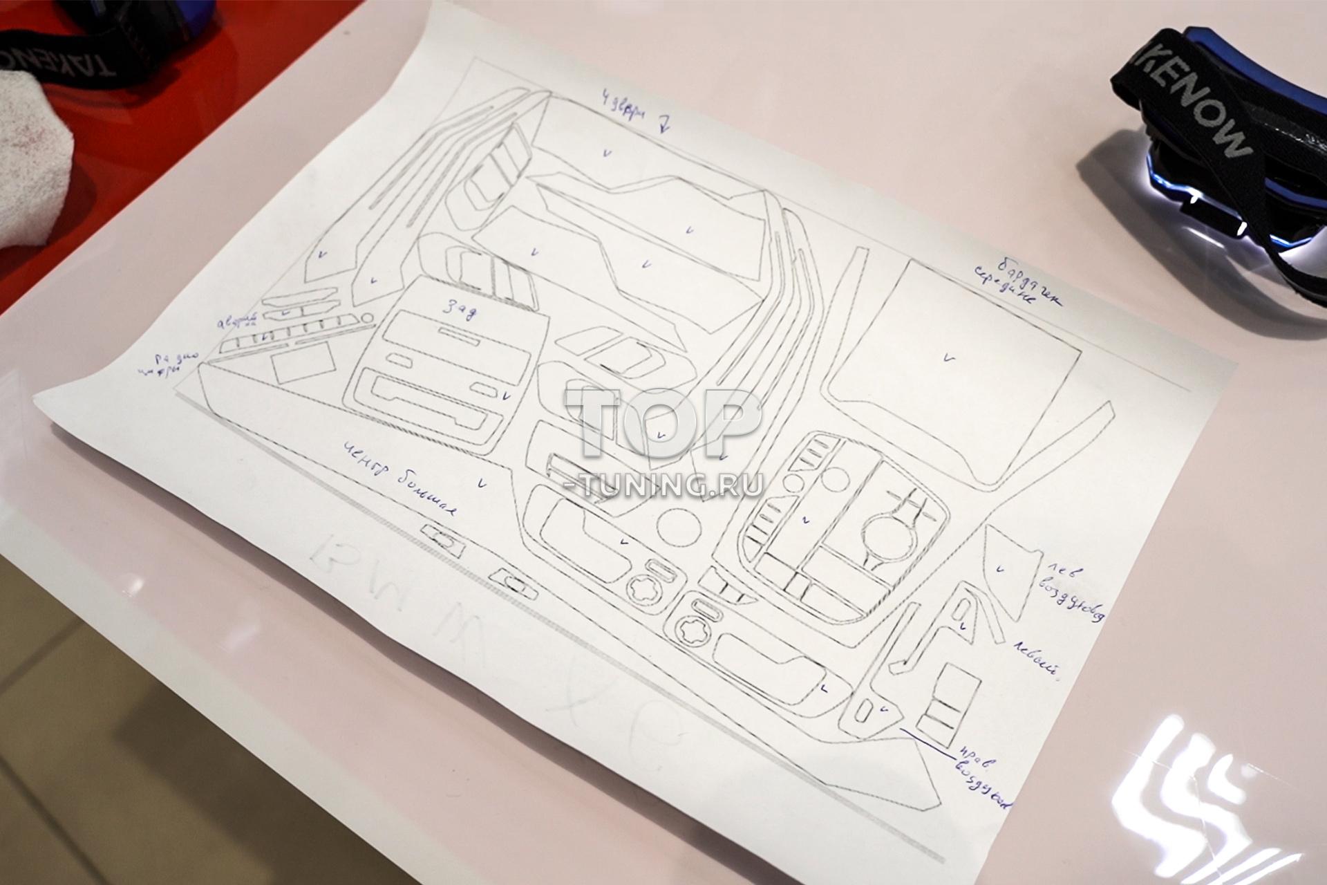 Оклейка пленкой глянцевых панелей в салоне BMW X6 G06