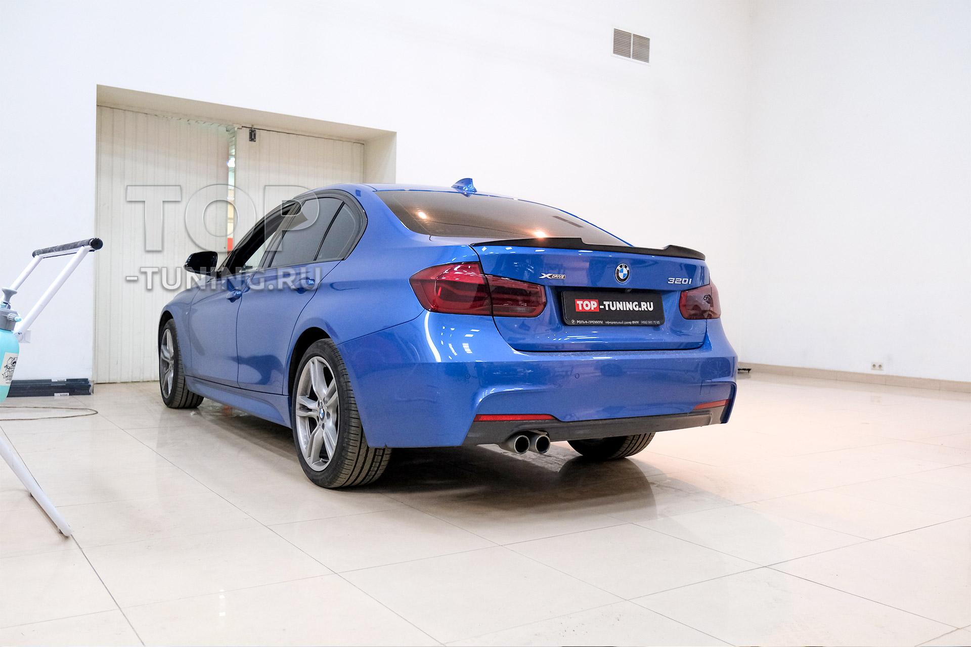 104240 Установка спойлера M-Style на BMW 3 F30 синего цвета