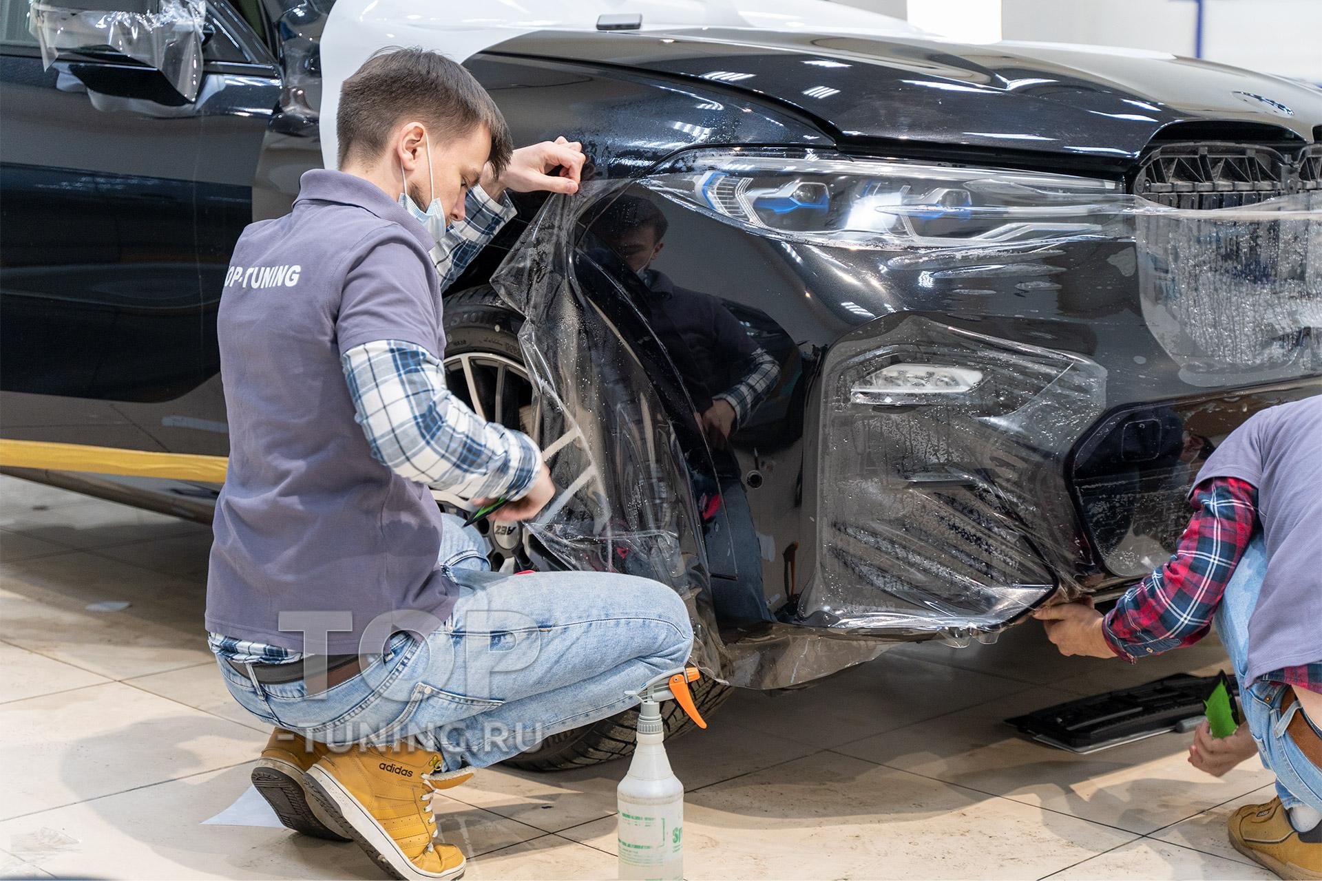 Защита лобовой части авто бронирующей пленкой - Оклейка зоны риска на БМВ Х7