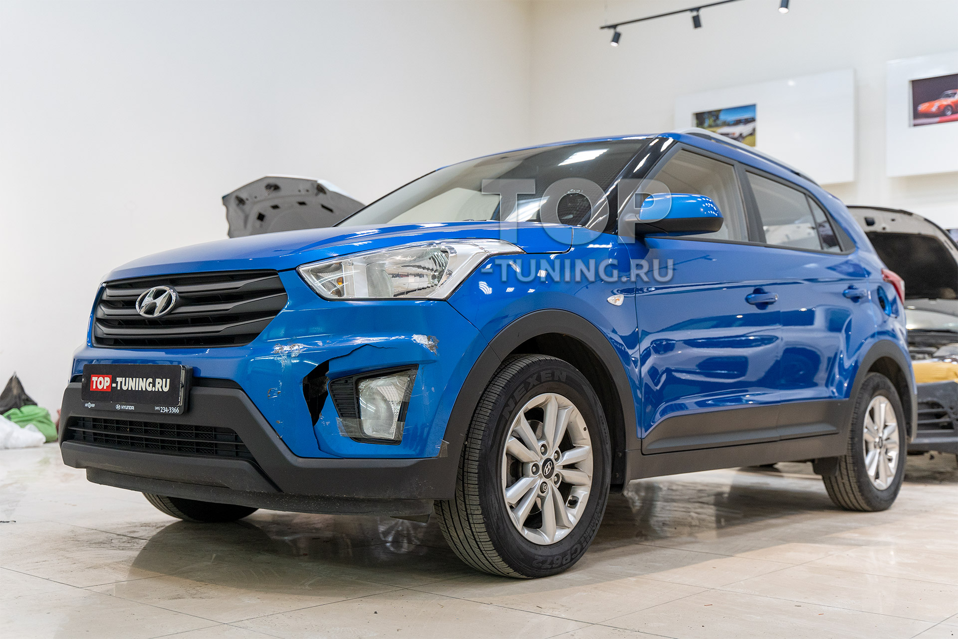 Синяя Hyundai Creta 1 - перед после ДТП