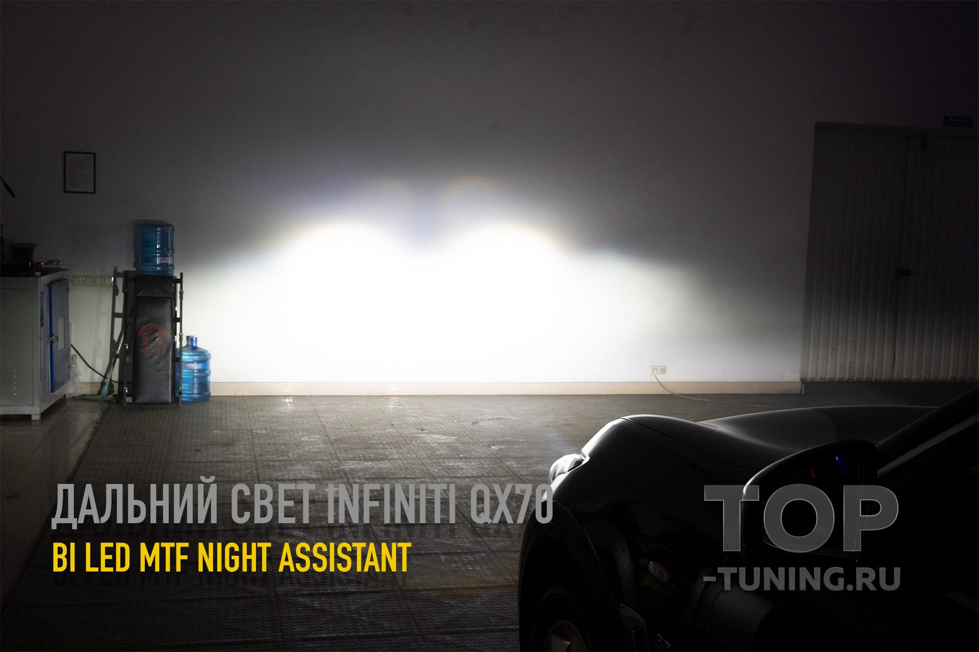 Светодиодный дальний свет MTF Light Bi LED линзы Night Assistant в Инфинити QX7 s51 (FX2)